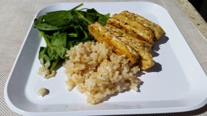 Simple balanced meal: Tempeh + Brown Rice + Greens