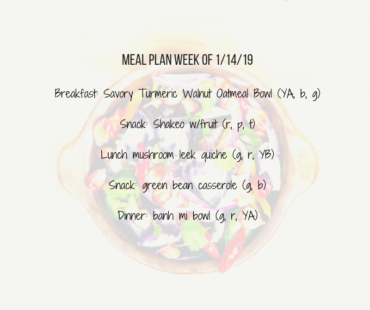 Meal Plan: Week of January 14, 2019